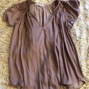 LOFT embroidered shoulder blouse